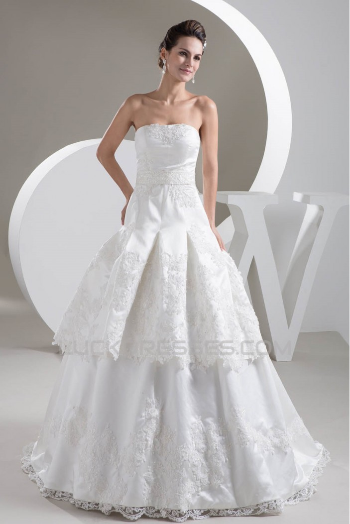 A-Line Great Satin Lace Strapless Sleeveless Wedding Dresses 2030728