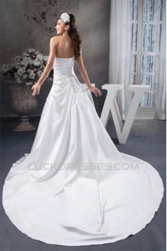 A-Line Soft Sleeveless Satin Strapless Chapel Train Wedding Dresses 2030730