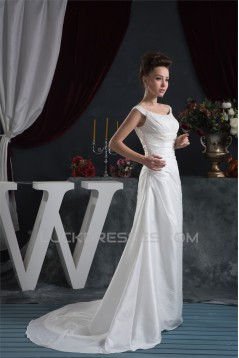 A-Line Great Sleeveless Taffeta Scoop Beaded Wedding Dresses 2030731
