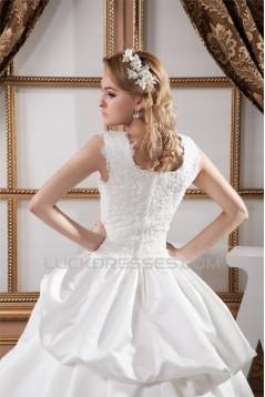 Great Square Ball Gown Satin Taffeta Lace Wedding Dresses 2030732