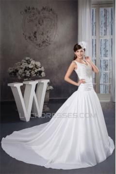 A-Line Straps Sleeveless Satin Taffeta Wedding Dresses 2030733