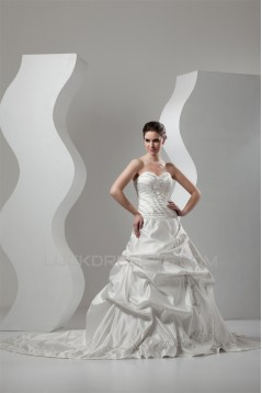 Great Sweetheart A-Line Sleeveless Taffeta Wedding Dresses 2030734