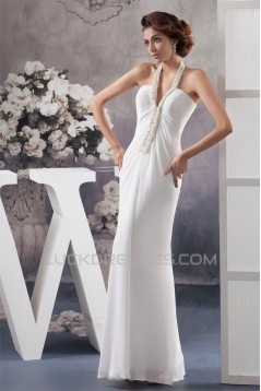 Sheath/Column Halter Beaded Chiffon Wedding Dresses 2030736