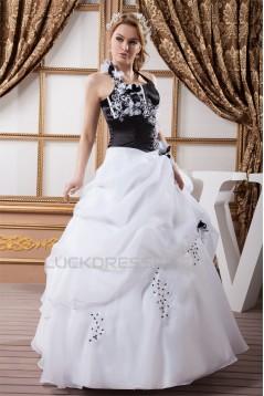 Ball Gown Halter Floor-Length Black White Beading Wedding Dresses 2030737