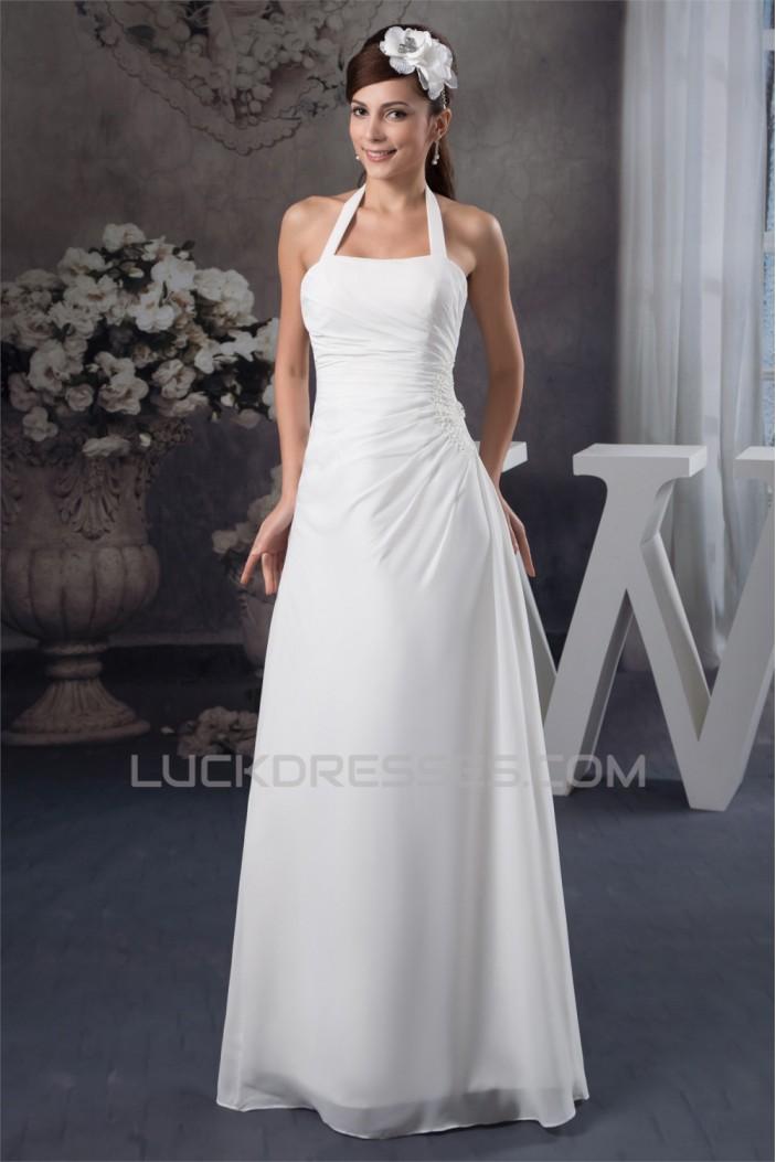 Halter Sheath/Column Sleeveless Floor-Length Wedding Dresses 2030738