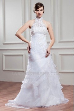 High-Neck A-Line Satin Organza Sleeveless Wedding Dresses 2030739