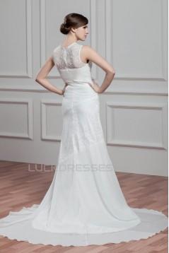 Sheath/Column Sleeveless Lace Chiffon New Arrival Wedding Dresses 2030740