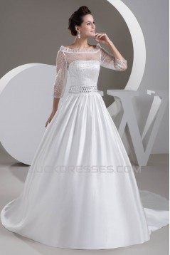 A-Line Beaded 3/4 Length Sleeve Wedding Dresses 2030742