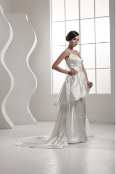 A-Line Spaghetti Strap V-Neck Satin Sweet Wedding Dresses 2030743