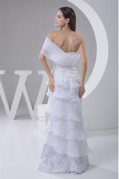 Elegant Sheath/Column One-Shoulder Floor-Length Wedding Dresses 2030749