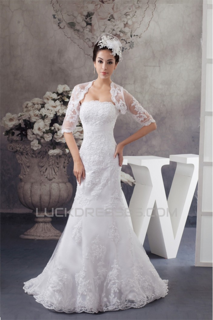 Trumpet/Mermaid Soft Lace Strapless Wedding Dresses with A Half Sleeve Lace Jacket 2030750