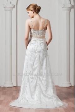 Hot Sale Spaghetti Straps Sleeveless Sheath/Column Beaded Sequin Wedding Dresses 2030751
