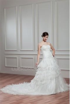 A-Line Satin Organza Sweetheart Chapel Train Lace Wedding Dresses 2030753
