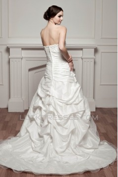 A-Line Sweetheart Court Train Lace Wedding Dresses 2030754