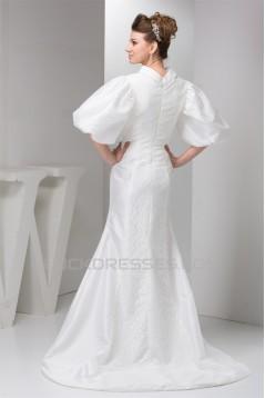 Lace Silk like Satin Mermaid/Trumpet Half Elbow Sleeve Wedding Dresses 2030755