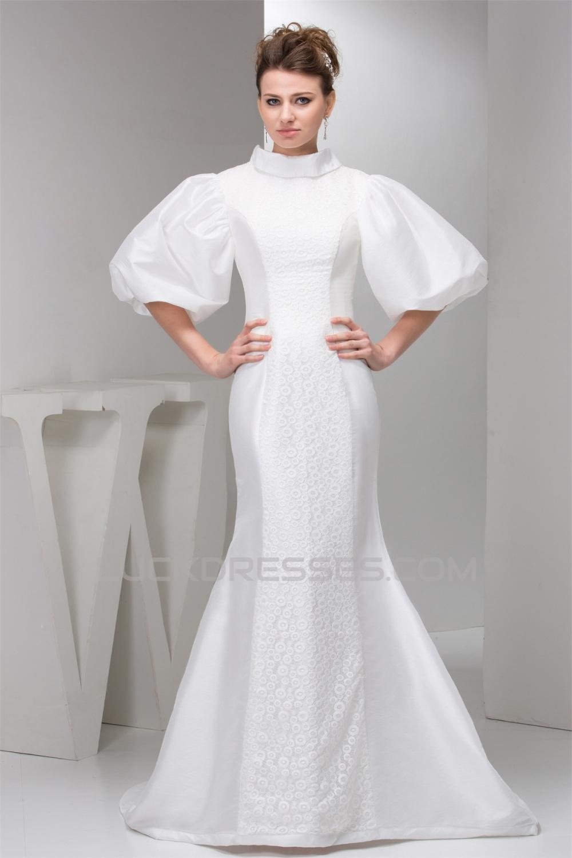 Lace Silk Like Satin Mermaid Trumpet Half Elbow Sleeve Wedding Dresses 2030755