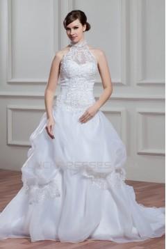 A-Line Halter Sleeveless Satin Organza Lace High Neck Wedding Dresses 2030756