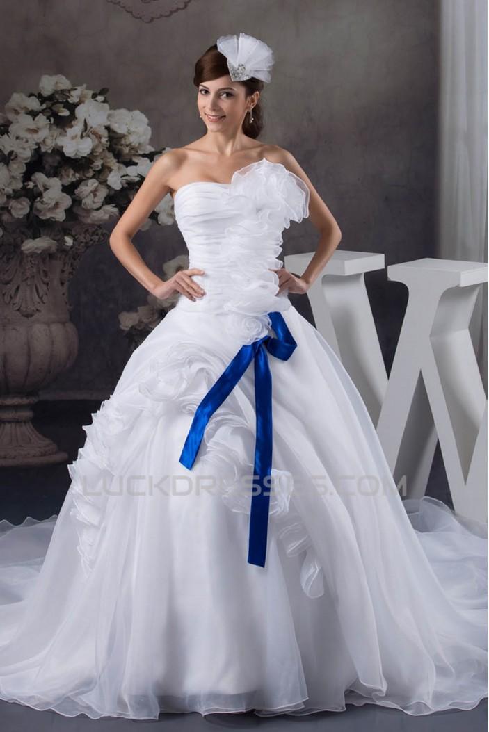 Ball Gown Chapel Train Sleeveless Strapless Sweet Wedding Dresses 2030758