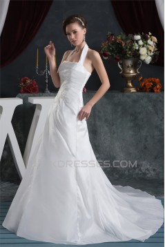 Latest Design Satin Taffeta A-Line Sleeveless Halter Sweet Wedding Dresses 2030760