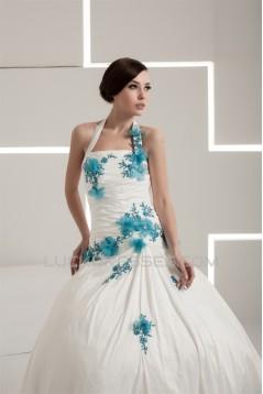 Latest Design Sleeveless Halter Satin Ball Gown Sweet Wedding Dresses 2030761