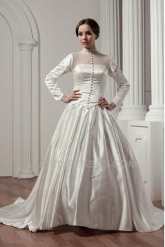 Long Sleeve Satin Fine Netting A-Line Portrait High Neck Wedding Dresses 2030766