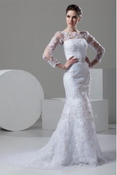 Mermaid/Trumpet Bateau Satin Lace 3/4 Length Sleeve Lace Wedding Dresses 2030767