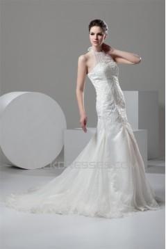 Mermaid/Trumpet Halter Sleeveless Satin Organza Wedding Dresses 2030769