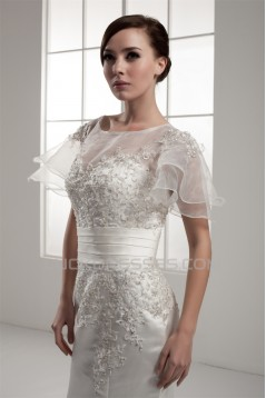 Mermaid/Trumpet Short Sleeve Portrait Lace Wedding Dresses 2030771