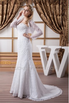 Mermaid/Trumpet Satin Lace Sweetheart Wedding Dresses with A Long Sleeve Lace Jacket 2030772