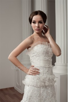 Sleeveless Strapless Court Train Lace Wedding Dresses 2030773
