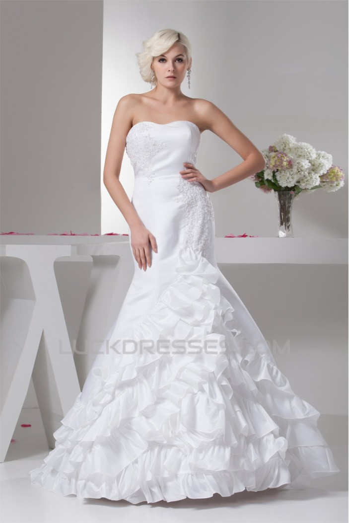 Mermaid/Trumpet Sleeveless Satin Taffeta Sweet Wedding Dresses 2030774