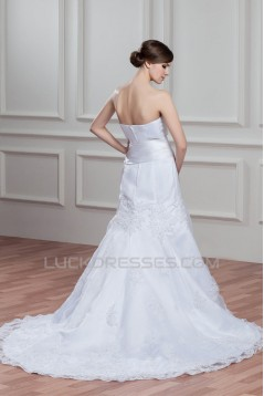 A-Line Sleeveless Soft Sweetheart Lace Wedding Dresses 2030775