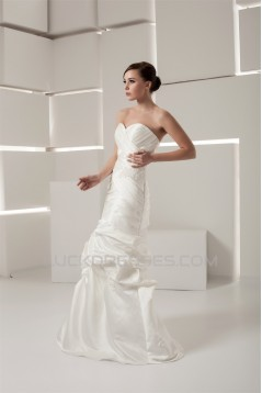 Mermaid/Trumpet Sweetheart Satin Taffeta Floor-Length Wedding Dresses 2030776