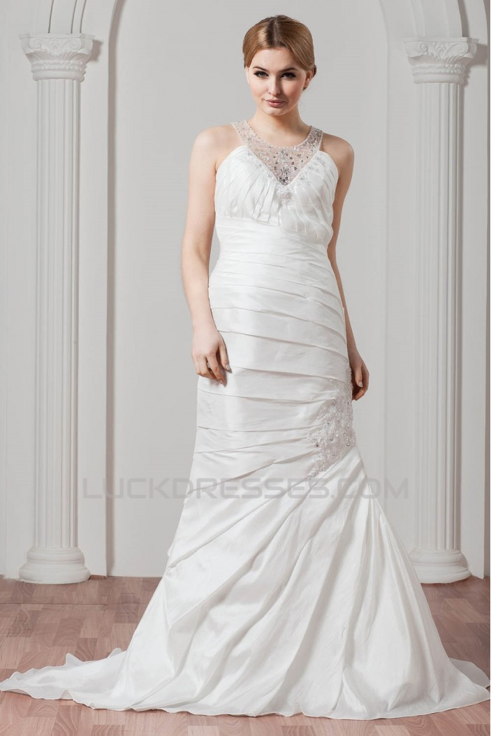 New Arrival A-Line Taffeta V-Neck Beaded Wedding Dresses 2030777