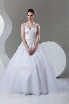 New Arrival Ball Gown Satin Organza V-Neck Sleeveless Wedding Dresses 2030778