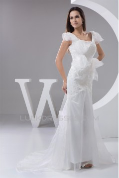 New Arrival Mermaid/Trumpet Organza V-Neck Lace Wedding Dresses 2030779