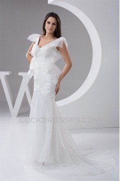 New Arrival Mermaid/Trumpet Organza V-Neck Lace Wedding Dresses 2030779