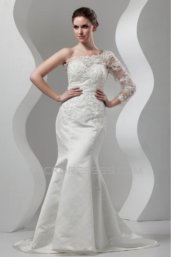 New Arrival Mermaid/Trumpet Satin Lace One-Shoulder Wedding Dresses 2030780