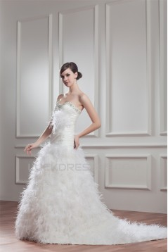 New Arrival Satin Sleeveless A-Line Sweetheart Wedding Dresses 2030781