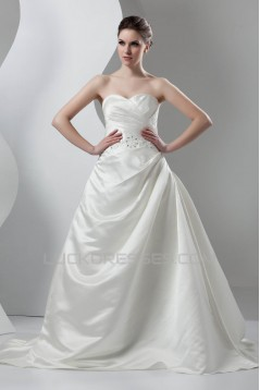 New Arrival Sleeveless Satin Sweetheart A-Line Beaded Wedding Dresses 2030782