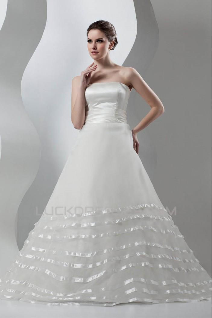 New Arrival Sleeveless Strapless A-Line Satin Organza Wedding Dresses 2030783