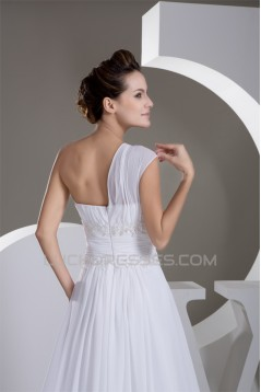 New Design A-Line One-Shoulder Sleeveless Chiffon Beaded Lace Wedding Dresses 2030785