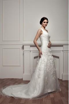 A-Line Satin One-Shoulder Sleeveless Sweet Wedding Dresses 2030786