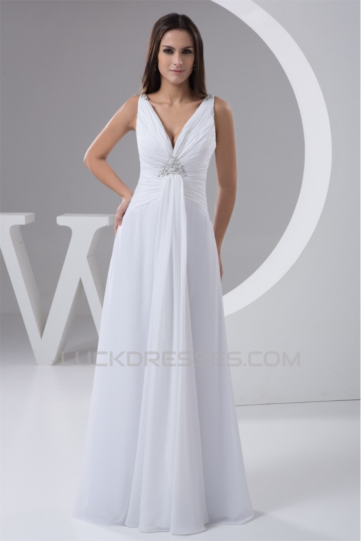 New Design A-Line Sleeveless Chiffon V-Neck Beaded Floor-Length Wedding Dresses 2030787