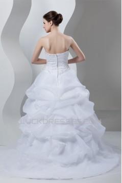 Ball Gown Sleeveless Sweetheart Satin Organza Wedding Dresses 2030788