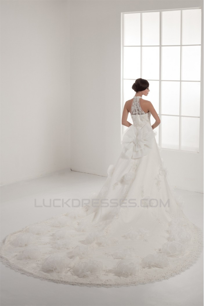 New Design High-Neck Satin Lace A-Line Sleeveless Sweet Wedding Dresses 2030792