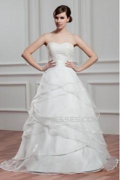 New Design Satin Organza Sweetheart A-Line Sleeveless Wedding Dresses 2030793