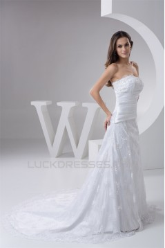 Elegant A-Line Satin Lace Strapless Wedding Dresses 2030795