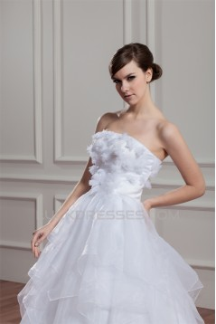 New Design Sleeveless Ball Gown Strapless Satin Organza Wedding Dresses 2030796
