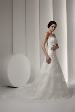 New Design Strapless Satin A-Line Sleeveless Sweet Lace Wedding Dresses 2030798